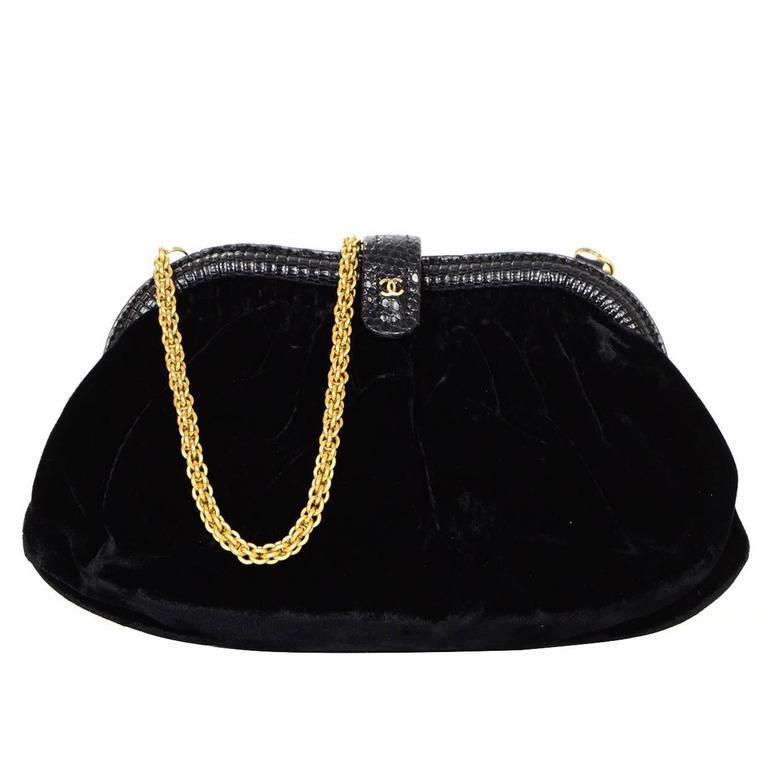 755c193daa195c Chanel Vintage Black Velvet Evening Bag w/ Goldtone Hardware at 1stdibs