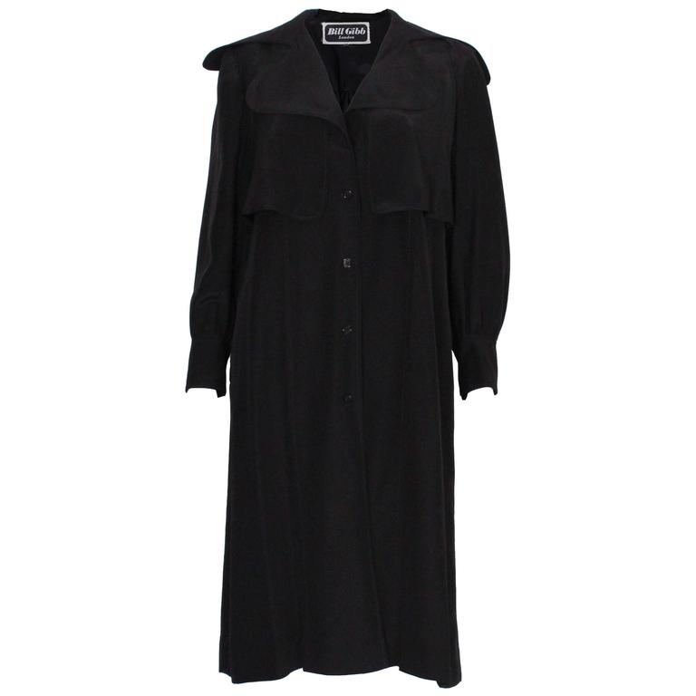 Bill Gibb London Black Silk Coat