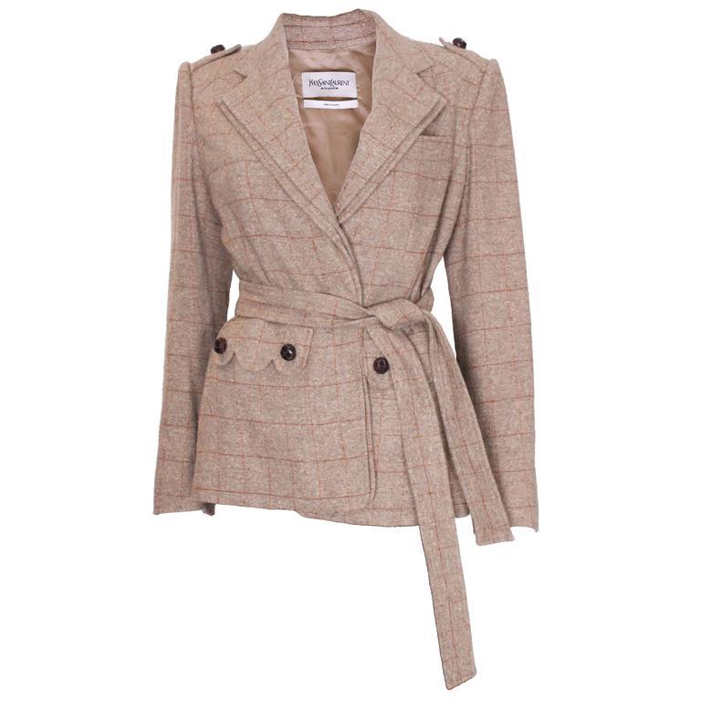 Yves Saint Laurent Linen/Silk Mix Jacket For Sale
