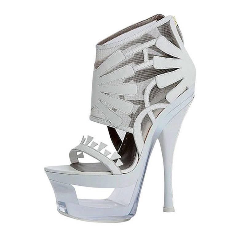 VERSACE Off White Mesh Plexiglass-Platform Shoes 1