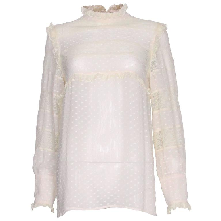 Valentino Silk and Lace Blouse