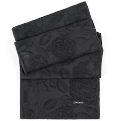 CHANEL Black Satin Camellia Print 100% Silk Large Scarf Wrap Shawl With Box