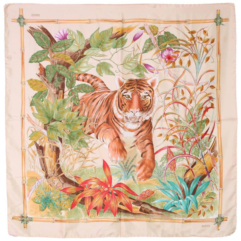 1970's Gucci Silk Scarf Featuring a Tiger Against A Jungle Background For Sale
