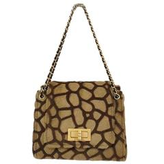 Chanel Rare Cognac Brown Leopard Print Ponyhair Gold Chain Evening Shoulder Bag