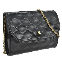 Chanel Vintage Black Leather Gold Chain Small Evening Party Flap Shoulder Bag