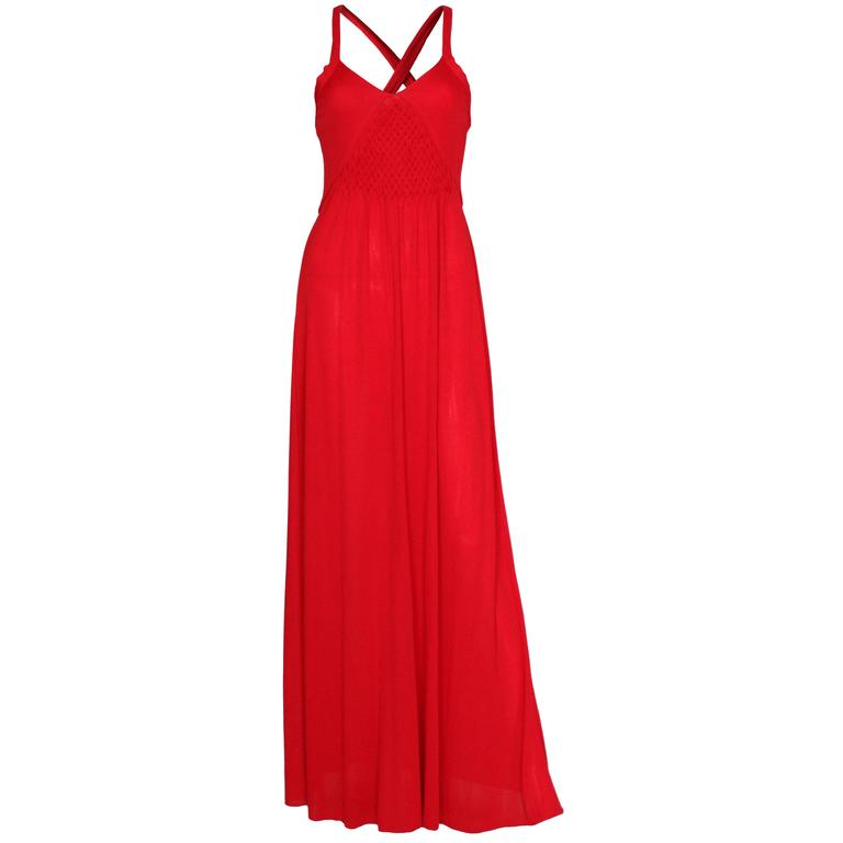 1970s Bruce Oldfield Red Gown