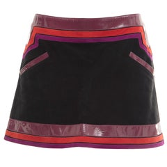 Gucci Black Suede Skirt Purple Patent Leather Red Purple Suede Trim,Spring 2007