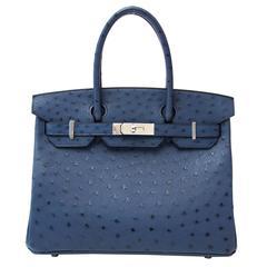 BRAND NEW Hermes Ostrich Birkin Blue De Malte 30 PHW