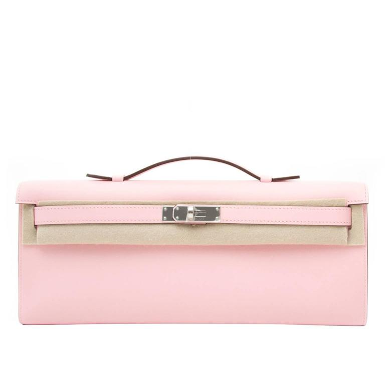 Hermès Kelly Cut Pochette Rose Sakura Swift Phw 1