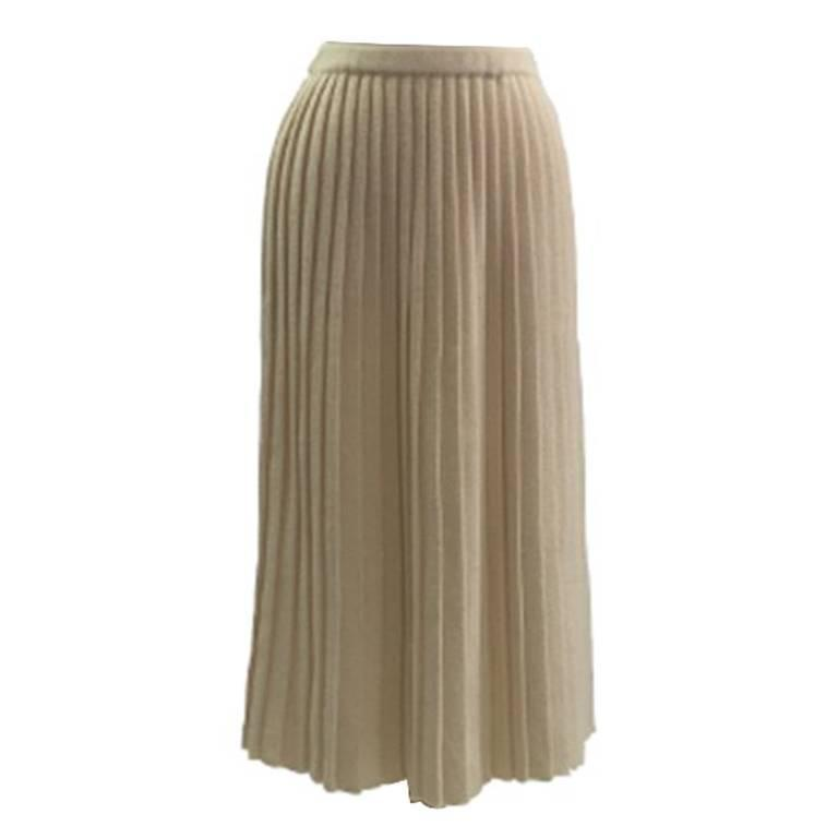 1980s  Wool/Acrylic Cream Courreges Pleated Knitted Skirt 1