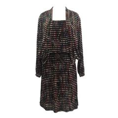 Missoni Silk Jersey Printed Black Cream and Multicolour Dress and Jacket, 1970s