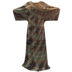 1970's Grey, Brown, Black Roberta Di Camerino Maxi Dress Jersey Polyeste