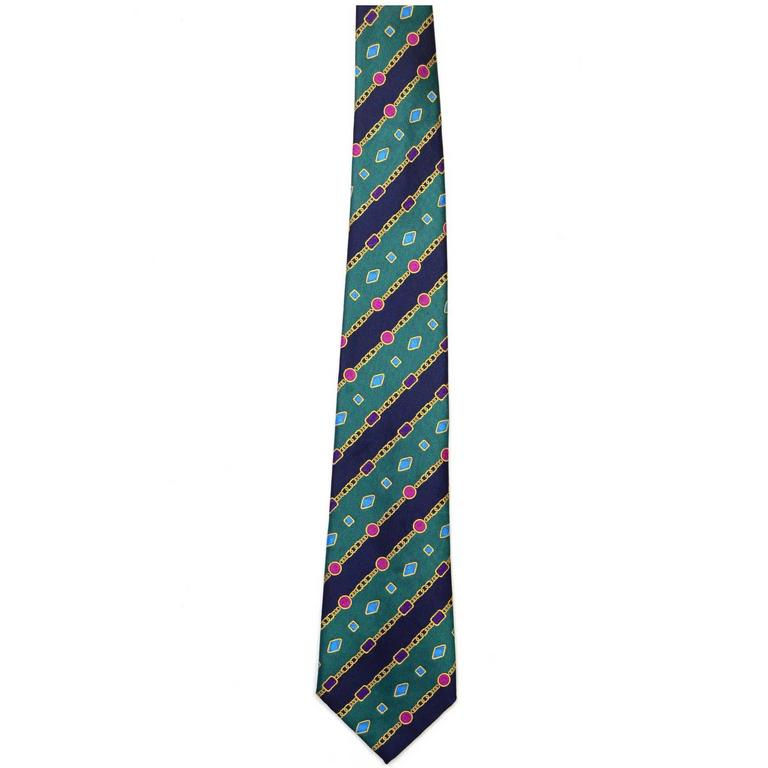 Chanel Green and Navy Silk Printed Tie