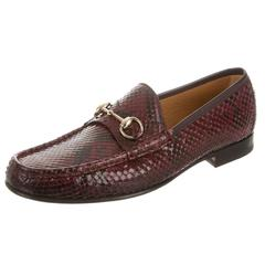 Gucci NEW Men's Snakeskin Leather Burgundy Flats Slippers Loafers Shoes in Box