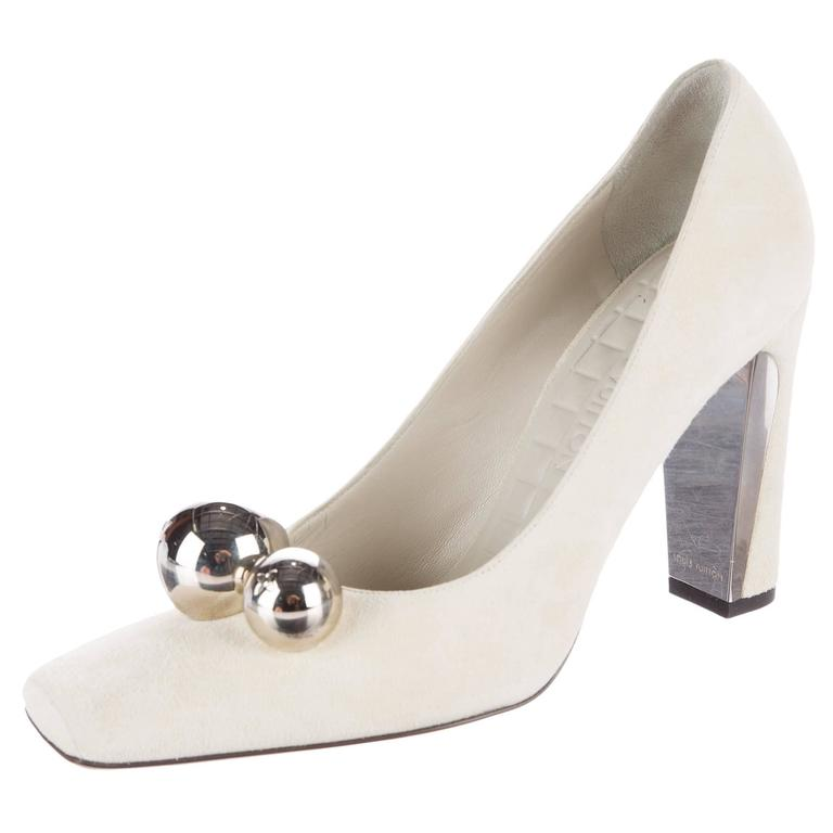 Louis Vuitton NEW Winter White Suede Silver Ball High Heels Pumps In Box 1