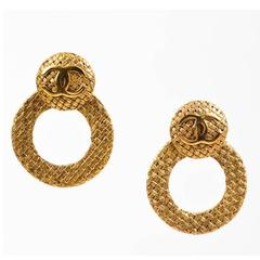 "Vintage Chanel Gold Tone Woven Convertible Hoop ""Day to Night"" Clip On Earrings"