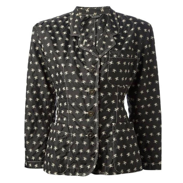 Jean Paul Gaultier Skull Embroidered Jacket For Sale