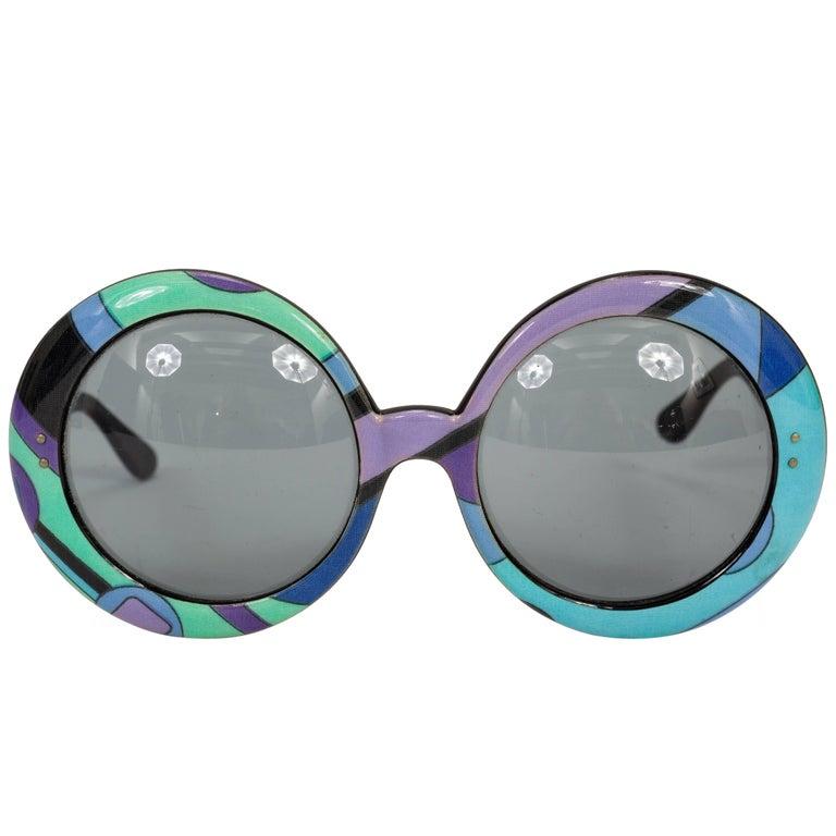 1960's Pucci Oversized Sunglasses w/Iconic Pucci Print