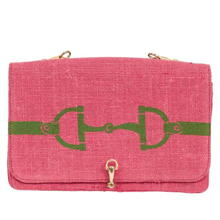 Rare Roberta di Camerino Horse Bit Motif Pink Linen Purse w/Pearl &Chain Strap