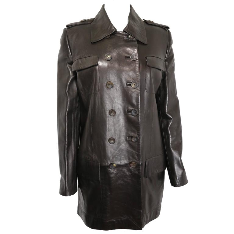 Gucci by Tom Ford Brown Leather Double Breasted Jacket For Sale
