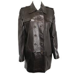 Gucci by Tom Ford Brown Leather Double Breasted Jacket