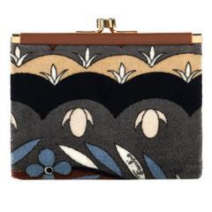EMILIO PUCCI c.1960's-1970's Brown Multicolor Velvet Leather Coin Purse Wallet