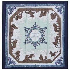 Hermes Silk Scarf Courbettes et Cabrioles 1654 Horses Blue 90 cm