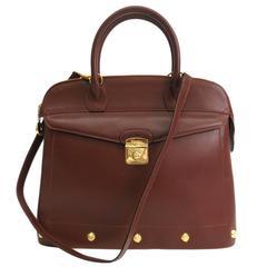Salvatore Ferragamo Dark Cognac Leather Gold Top Handle Crossbody Shoulder Bag