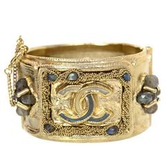 Chanel Goldtone and Jeweled CC Cuff