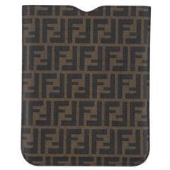 Fendi NEW Brown Black Monogram Canvas Logo iPad Cover Tech Accessory Case in Box