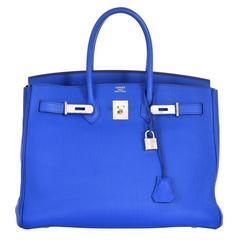 Hermes 35cm Birkin Bag Blue Electric Palladium Hardware Togo JaneFinds