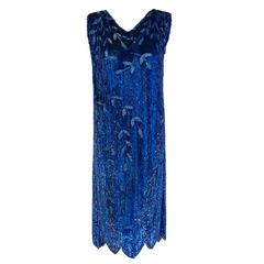 1920's French Sapphire-Blue Sequin Beaded Leaf Novelty Motif Deco Flapper Dress