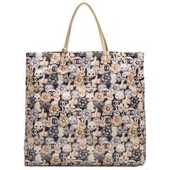 Chanel Navy, Grey And Gold CC Peace Cat Graphic Printed Large Shopping Tote