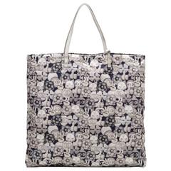Chanel Navy, Grey And Silver CC Peace Cat Graphic Printed Large Shopping Tote