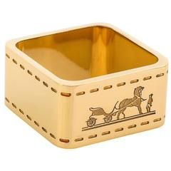 """Hermes Paris """"Bolduc"""" Duc Carriage With Horse Logo Gold Brass Square Scarf Ring"""