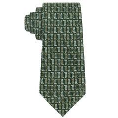 GUCCI c.1970's Equestrian Riding Boot Spur Print 100% Silk Necktie Tie