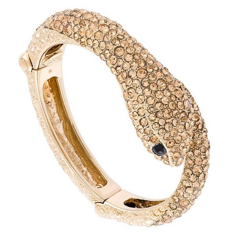Roberto Cavalli NEW & SOLD OUT Gold Swarovski Crystal Snake Cuff Bangle in Box 1