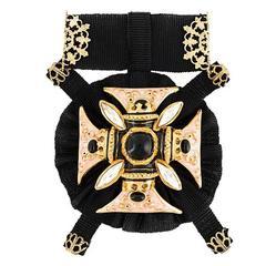 Dolce & Gabbana NEW Black Ribbon Gold Filigree Crystal Pin Brooch in Box