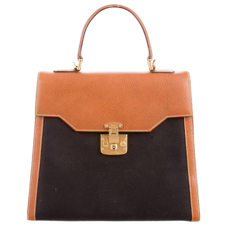 Gucci Vintage Cognac Leather Black Canvas Kelly Top Handle Satchel ...