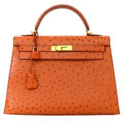 Hermes Orange Ostrich 32cm Sellier Rigid Kelly Bag GHW