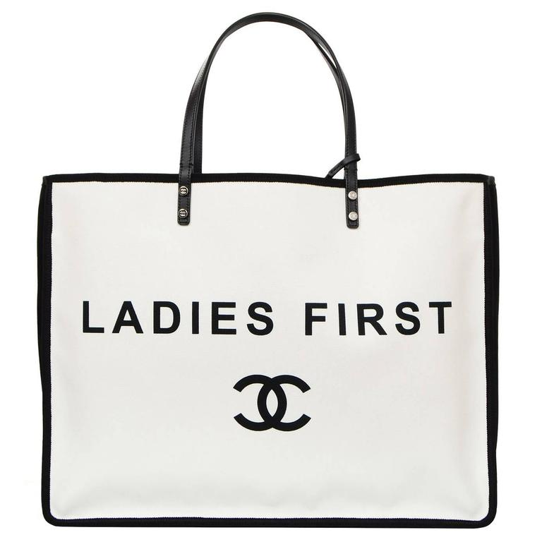 e0b25763f4aa Chanel 2015 Like New Black and White Canvas Ladies First Tote Bag For Sale
