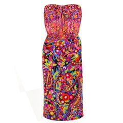 GIANNI VERSACE COUTURE A/W 2002 Floral Print Strapless Quilted Skirt Silk Dress