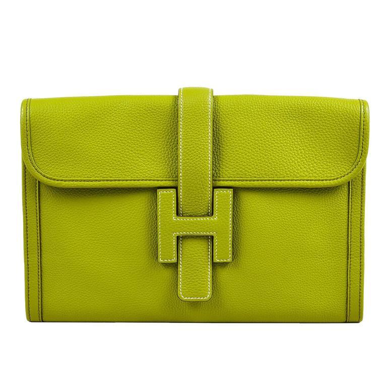 "Hermes Vert Anis Green Togo Leather ""Jige PM"" Flap Clutch Bag 1"