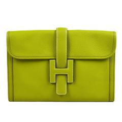 "Hermes Vert Anis Green Togo Leather ""Jige PM"" Flap Clutch Bag"