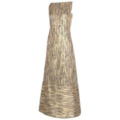 1970's Pauline Trigere Gold & Copper Brocade Evening Gown w/Rhinestone Detail