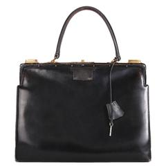 Vintage Hermes Black Leather Top Handle Handbag W/Lock & Key