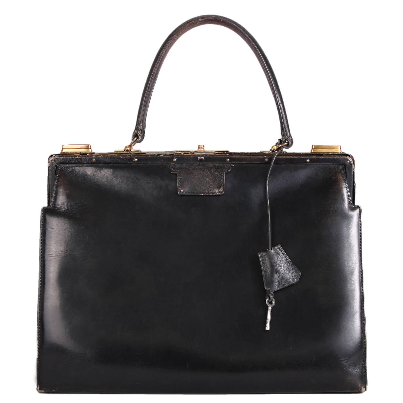 Vintage Hermes Black Leather Top Handle Handbag W Lock And Key For At 1stdibs