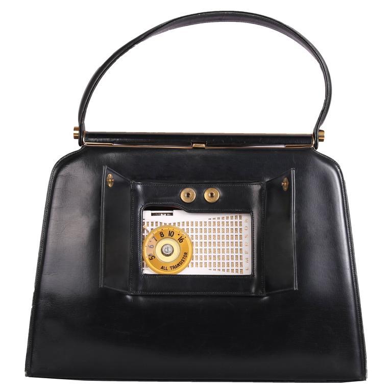 Vintage Milch Black Leather Box Purse Handbag W Working Radio For