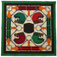 Hermes Chale 140cm Tatersale Model 70% Cachemire/30%Silk Vert/Blanc/Rouge Color