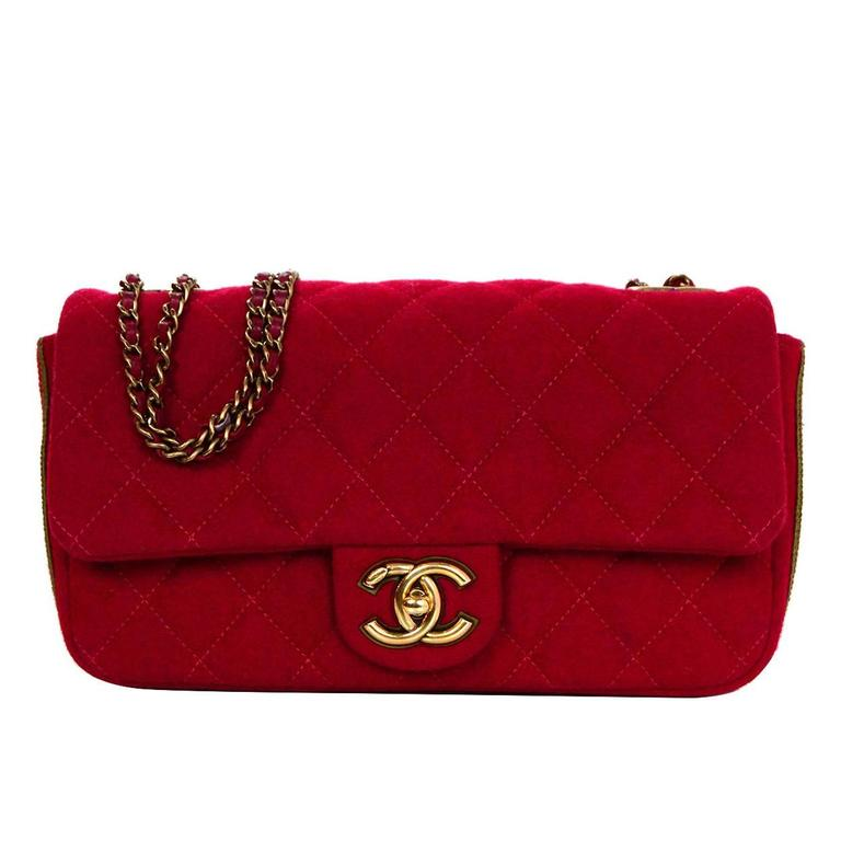 Chanel 2015 Red Wool & Grosgrain Flap Bag For Sale